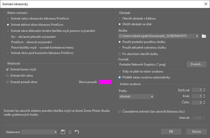 Snadné snímání obrazovky (screenshotů) pomocí programu Zoner Photo Studio