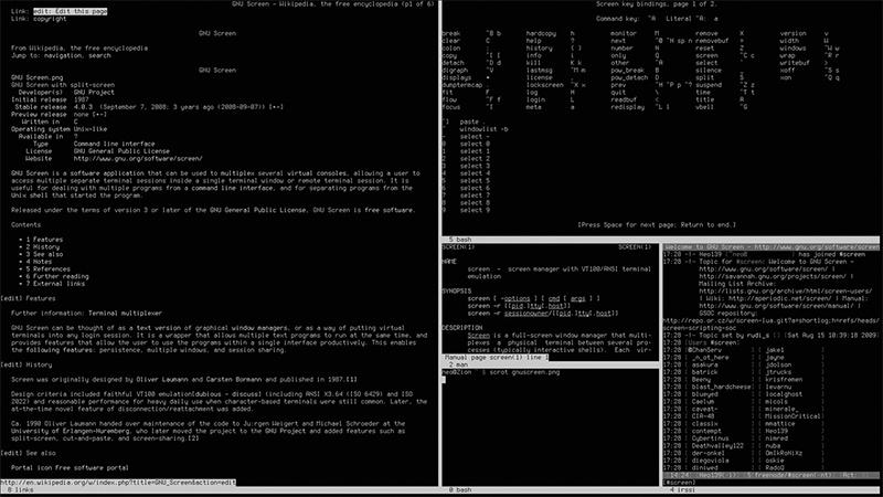 Linux: GNU Screen: Mnoho konzolí vjedné